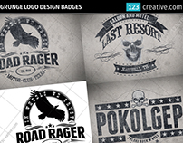 Grunge logo design badges