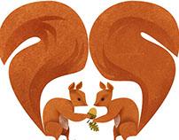 Squirrels Heart Acorns