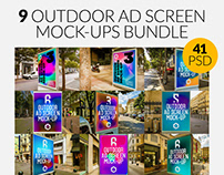 9 Outdoor Ad Screen Mock-Ups Bundle 4