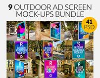 9 Outdoor Ad Screen Mock-Ups Bundle 4