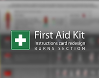 First Aid Kit instructions card (Burns section)