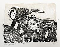 Vintage Norton Motorcycle Linocut Print