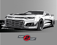 Detroit Muscle tee-shirt illustrations for Kart 2 Kart.
