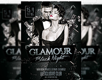 Glamour Black Night - Flyer Template + Facebook Cover