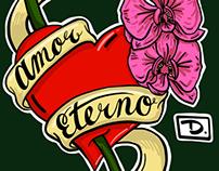 Amor eterno tattoo vector