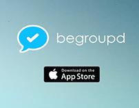 Begroupd group messaging app website app design