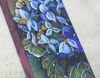 Watercolor on wood - Hydrangea