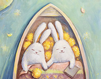 Bunnies. Oil painting artworks
