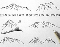 Hand-Drawn Mountain Scenes