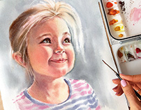 Pure Beauty - watercolor kids' portraits