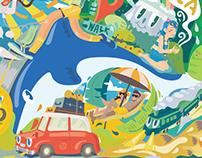 Happy Journey -携程旅行网主题插画设计