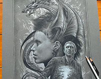 The Girl With The Dragon Tattoo pencil drawing