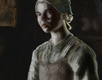 Digital painting: Girl in the Dark