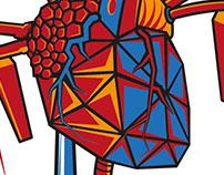 Cyber Heart vector illustration