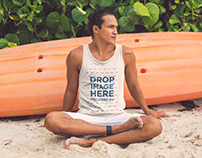 Surfer Guy Sitting in the Sand on the Beach Tank Top