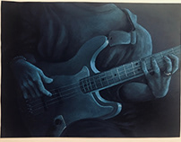 Blue Chalk Pastel Bassist
