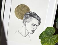 Golden moon | Ballpoint pen portrait | Illustration