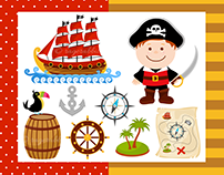 Pirate Boy Vector Illustrations Set