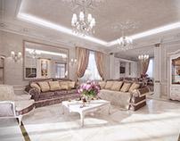 "Visualization of a living room and kitchen, ""Alla"" proj"