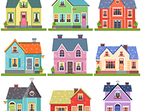 Cute pastel houses (vector)