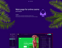 Main page (prototype) for online casino