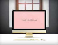 Free Golden iMac device Mockup