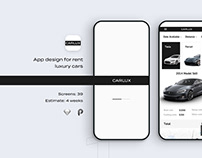 Ui/Ux for Carlux. Luxury cars for rent