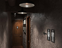 Hallway with WC in PUB | design & 3d-visualization