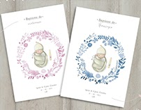 Customized baptism invitations · Asas de Peixe