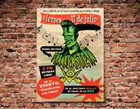 Flyer design for band: Frankenstein V8