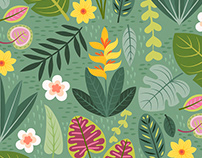 Tropical Floral and Plants Pattern Illustration