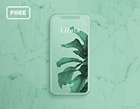 Free iPhone mockup on marble