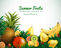 Summer Tropical Fruits Background - Vectors for Freepik