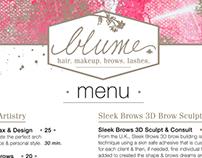 Print Menu Design - Blume Salon Santa Clarita
