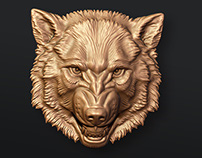 Angry Wolf. Bas-relief