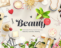Beauty: Stationery, Cosmetics, Wedding, mockups