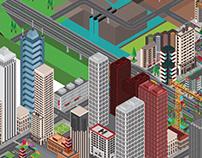 Isometric Metropolis,Farm,Dam isometric in 3D view