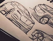 Sketches of British cars