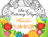 Set of Summer Coloring Pages