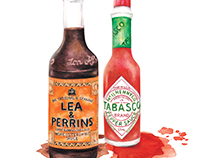 Watercolour food illustration Tabasco & Worcestershire.