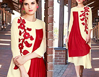 Designer Party Wear Kurtis With Full Sleeve & Embroider