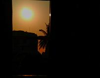 Sun peeping through window