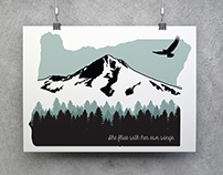 Oregon/Mt. Hood Poster with State Motto
