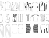 Fashion flat drawing of women's wear collection