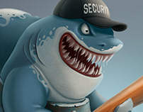 Shark security. Cartoon character design.