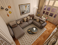 Living room with side office