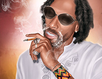 Snoop Dogg Digital Oil Painting by Wayne Flint
