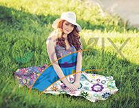 Portrait Girl Dress Tops in Grass PSD Mockup