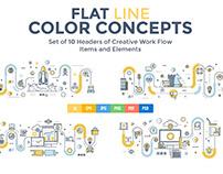 Set of Flat Line Color Concepts