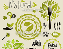 Vegan, organic vector set